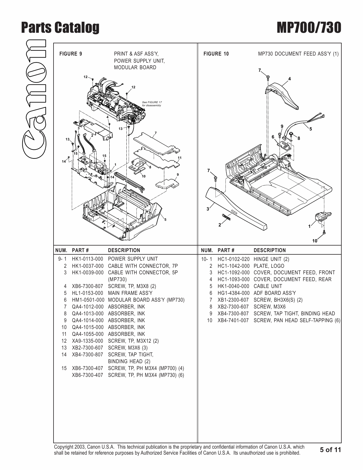 Canon PIXMA MP700 MP730 Parts Catalog Manual-6